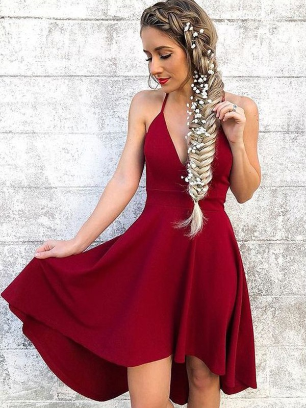 Burgundy Spandex Halter A-Line/Princess Knee-Length Dresses