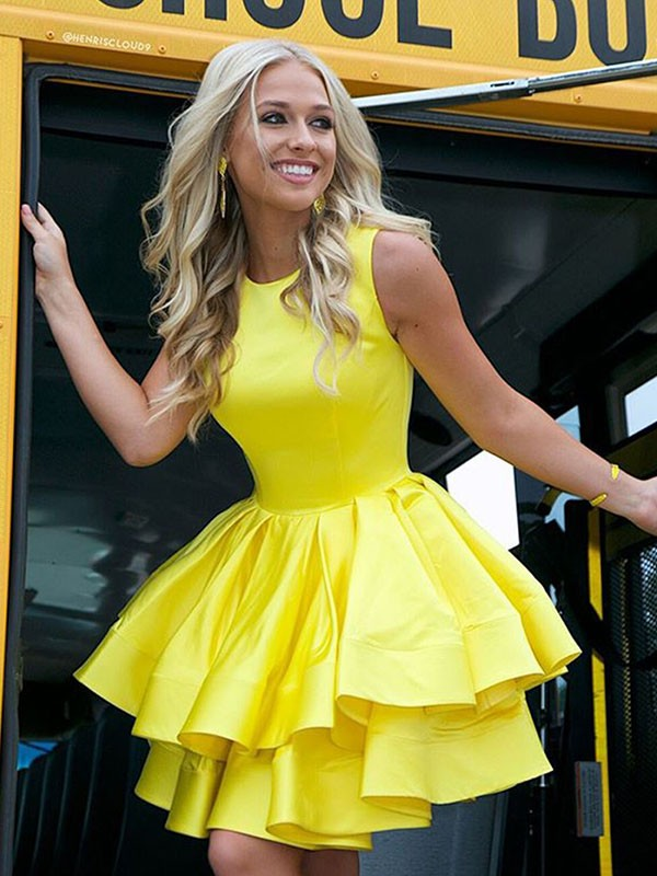 Yellow Satin Scoop A-Line/Princess Short/Mini Dresses