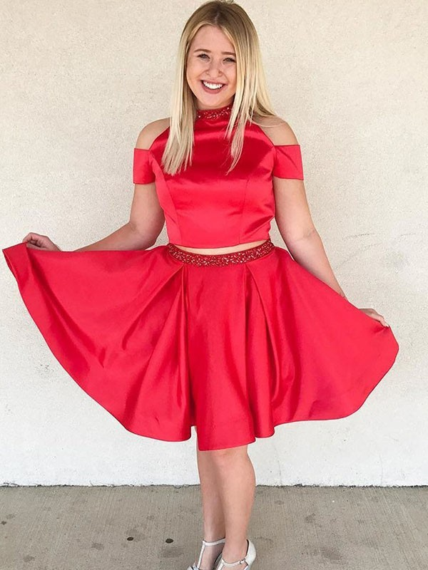 Red Satin Off-the-Shoulder A-Line/Princess Knee-Length Dresses