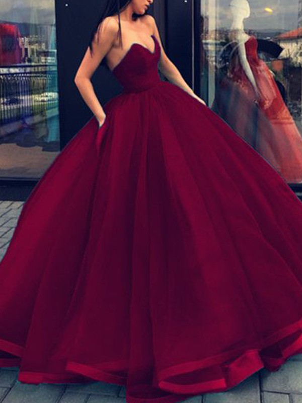 Burgundy Organza Sweetheart Ball Gown Floor-Length Dresses