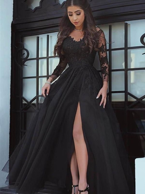 Black Tulle Off-the-Shoulder Ball Gown Floor-Length Dresses