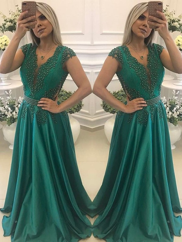 Dark Green Silk like Satin V-neck A-Line/Princess Floor-Length Dresses