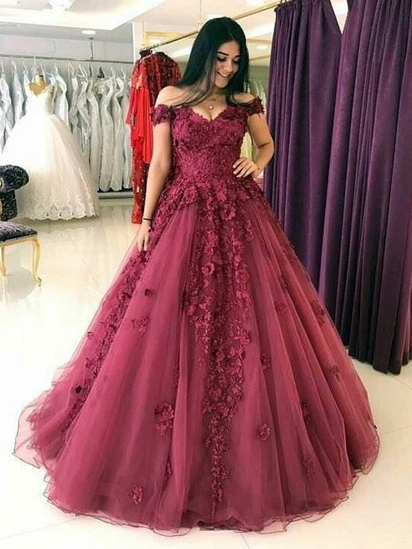 Burgundy Tulle Off-the-Shoulder Ball Gown Sweep/Brush Train Dresses