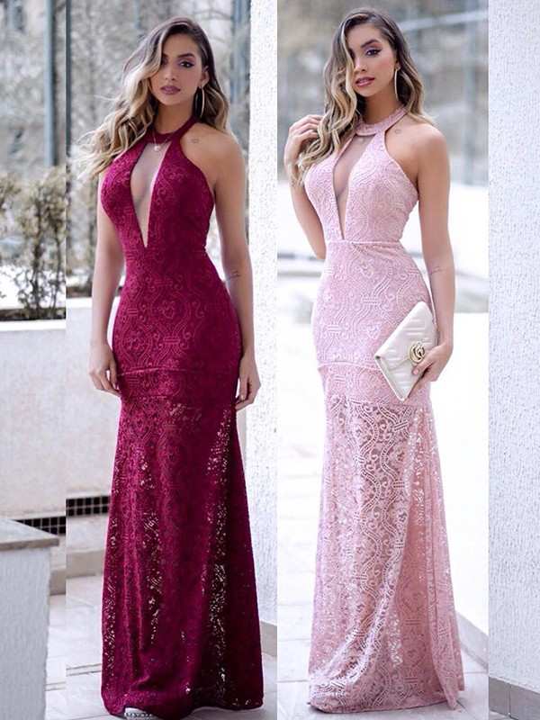 Pink Lace Halter Sheath/Column Floor-Length Dresses