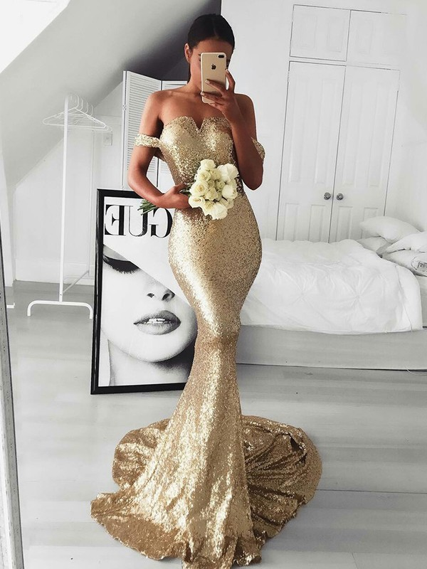 Gold Sequins Off-the-Shoulder Trumpet/Mermaid Sweep/Brush Train Dresses