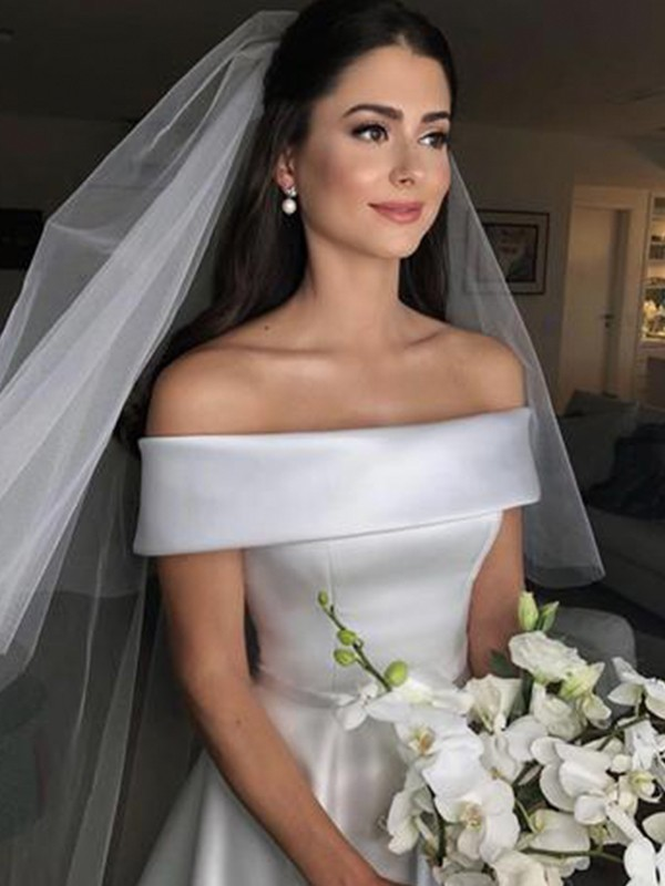 Ivory Satin Off-the-Shoulder A-Line/Princess Sweep/Brush Train Wedding Dresses