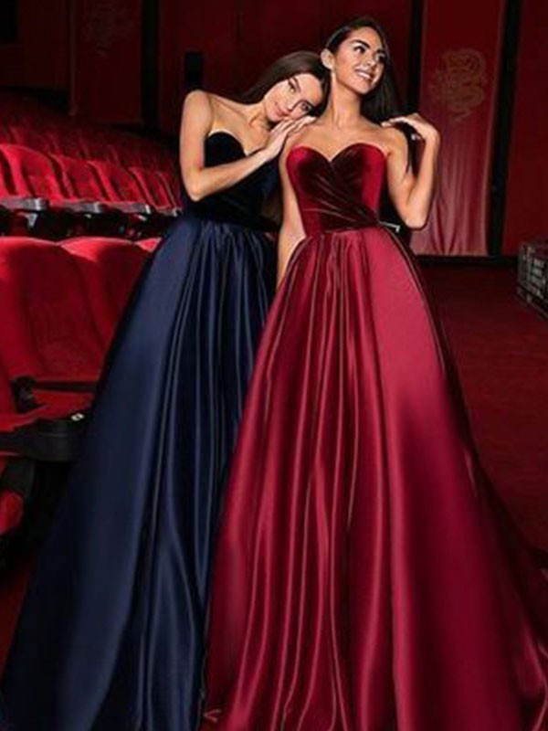 Burgundy Satin Sweetheart A-Line/Princess Court Train Dresses