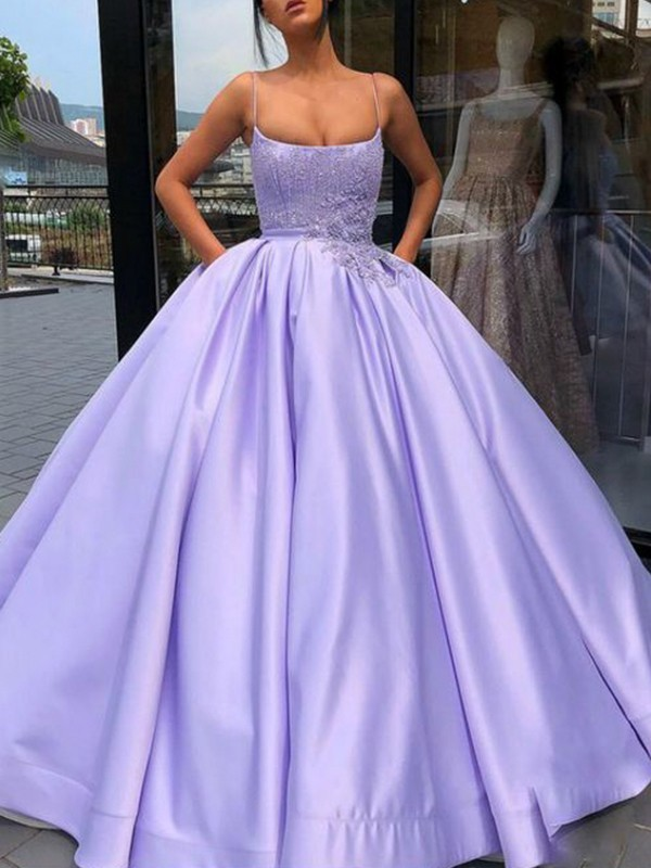 Lilac Satin Spaghetti Straps Ball Gown Floor-Length Dresses