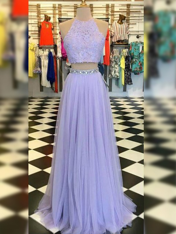 Lavender Tulle Halter A-Line/Princess Sweep/Brush Train Dresses