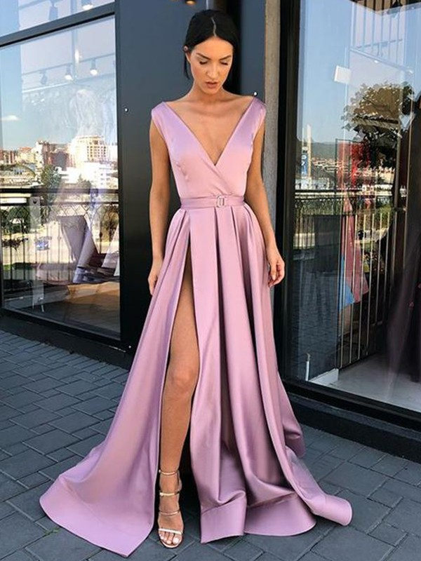 Lilac Satin V-neck A-Line/Princess Floor-Length Dresses