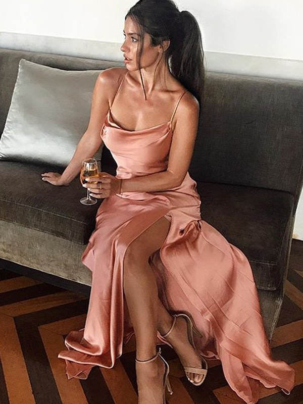 Pearl Pink Silk like Satin Spaghetti Straps Sheath/Column Floor-Length Dresses