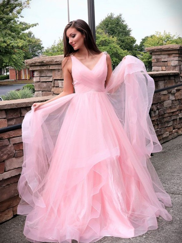 Pink Tulle V-neck A-Line/Princess Sweep/Brush Train Dresses