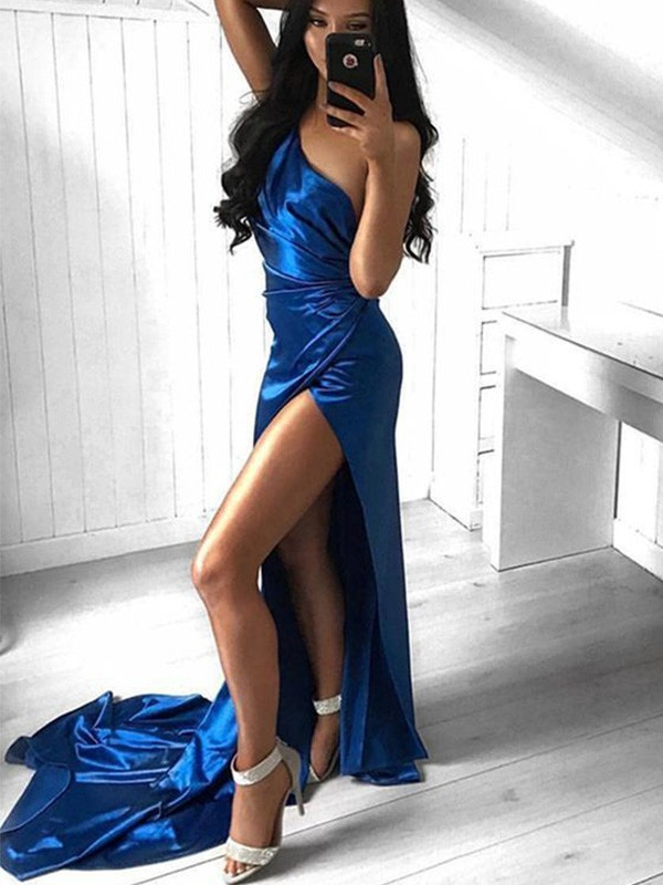 Royal Blue Elastic Woven Satin One-Shoulder Sheath/Column Court Train Dresses