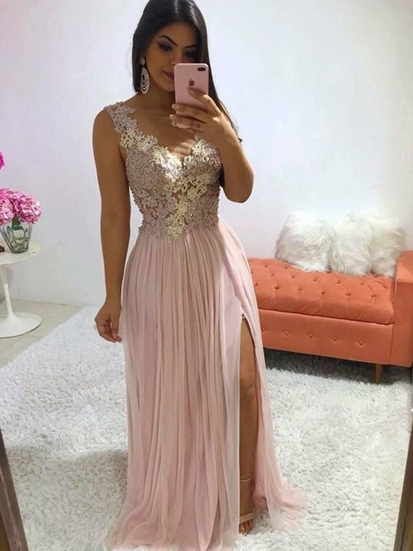 Pearl Pink Chiffon V-neck A-Line/Princess Sweep/Brush Train Dresses