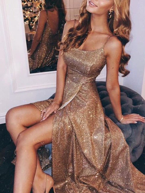 Gold Sequins Spaghetti Straps A-Line/Princess Floor-Length Dresses