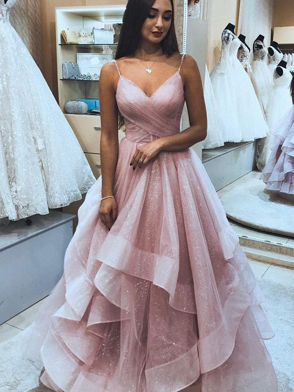 Pearl Pink Organza Spaghetti Straps A-Line/Princess Floor-Length Dresses