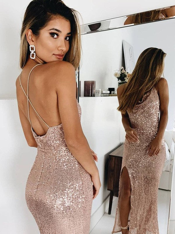 Pearl Pink Sequins Spaghetti Straps Trumpet/Mermaid Ankle-Length Dresses