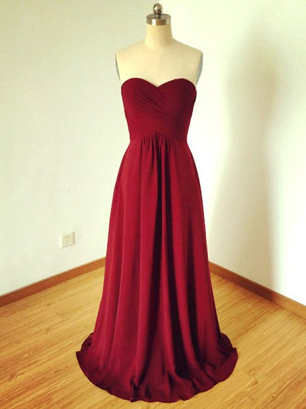 Burgundy Chiffon Sweetheart A-Line/Princess Floor-Length Bridesmaid Dresses