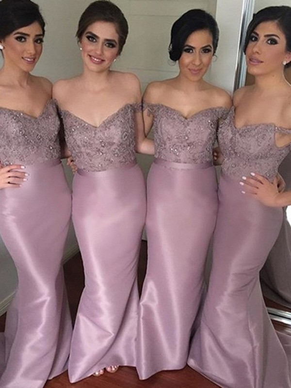 Pink Satin Off-the-Shoulder Trumpet/Mermaid Sweep/Brush Train Bridesmaid Dresses