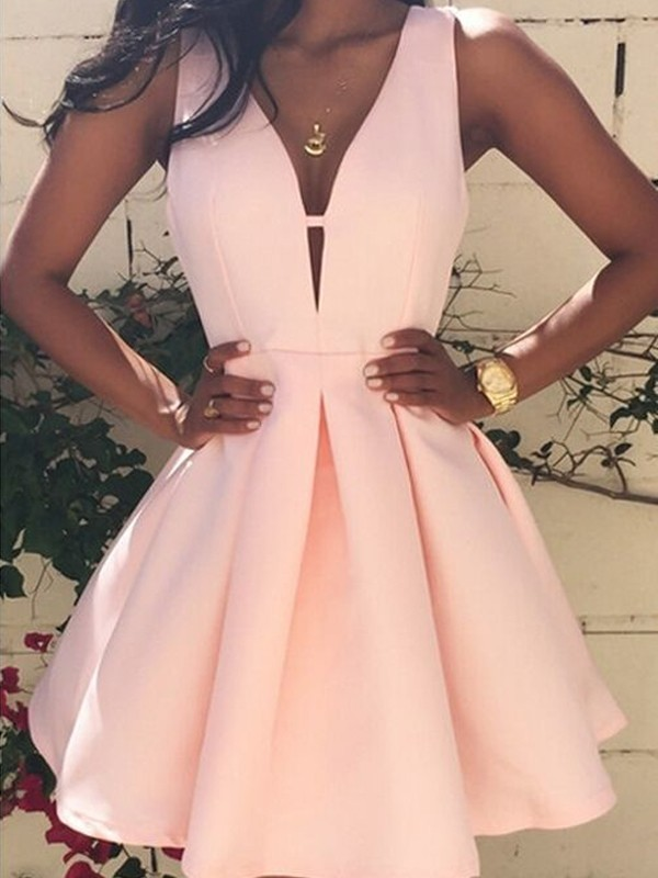 Pink Satin V-neck A-line/Princess Short/Mini Dresses