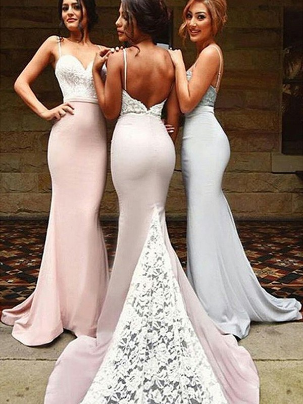 Ivory Spandex Sweetheart Trumpet/Mermaid Sweep/Brush Train Bridesmaid Dresses