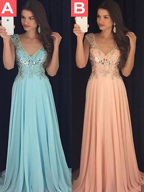 Orange Chiffon V-neck A-Line/Princess Floor-Length Dresses