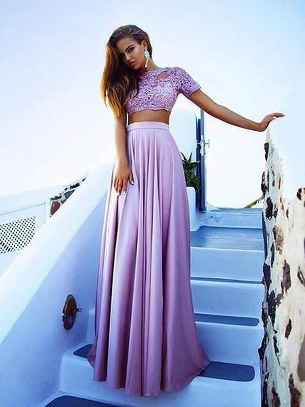 Lilac Lace Bateau A-Line/Princess Floor-Length Dresses