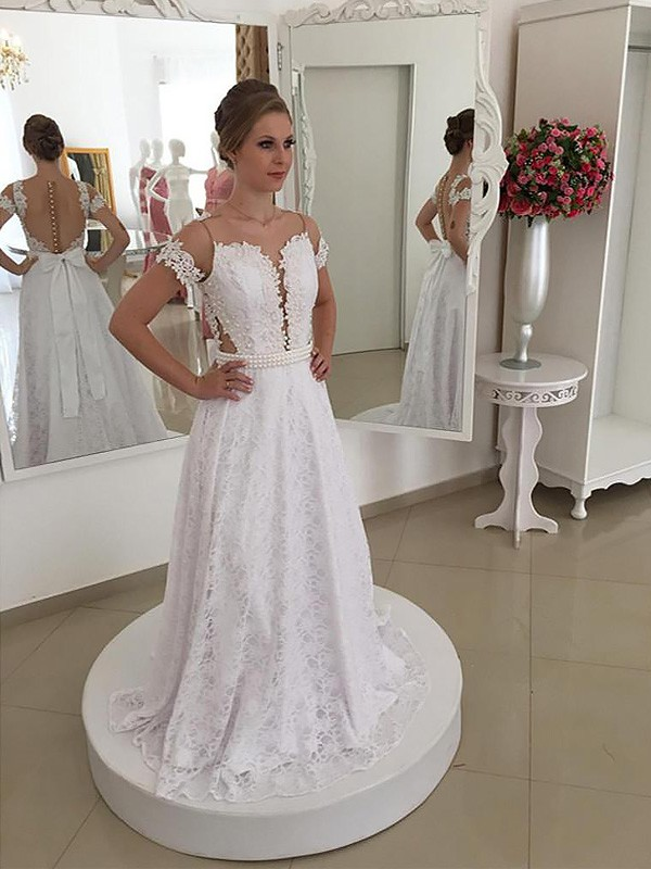 Ivory Lace Scoop A-Line/Princess Sweep/Brush Train Wedding Dresses