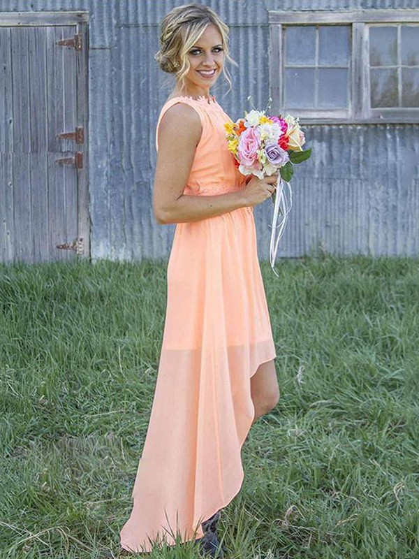 Orange Chiffon Scoop A-Line/Princess Asymmetrical Bridesmaid Dresses