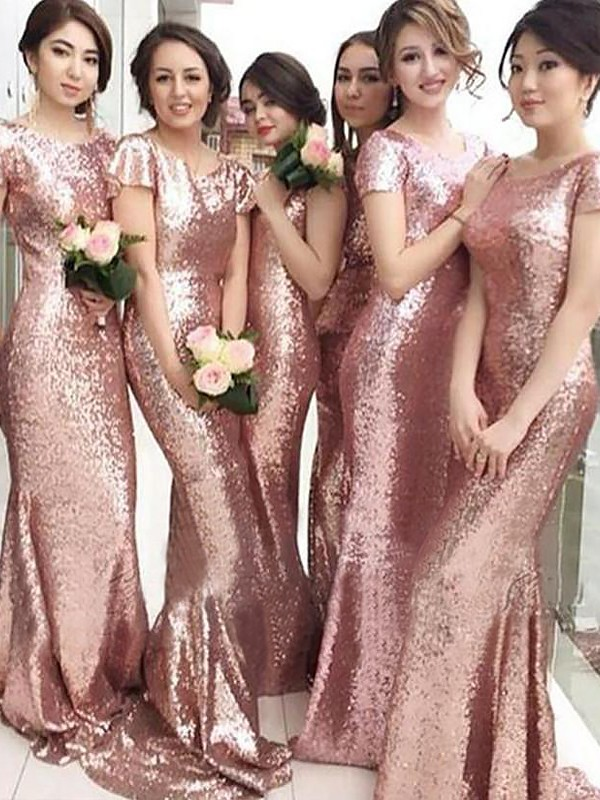 Pink Sequins Scoop Sheath/Column Sweep/Brush Train Bridesmaid Dresses