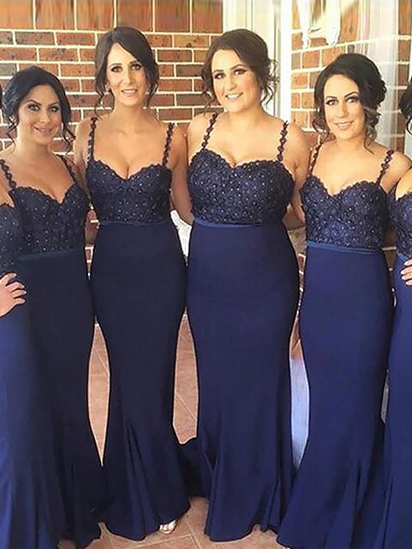 Dark Navy Satin Spaghetti Straps Trumpet/Mermaid Sweep/Brush Train Bridesmaid Dresses