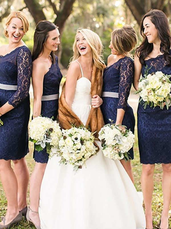 Dark Navy Lace One-Shoulder Sheath/Column Short/Mini Bridesmaid Dresses