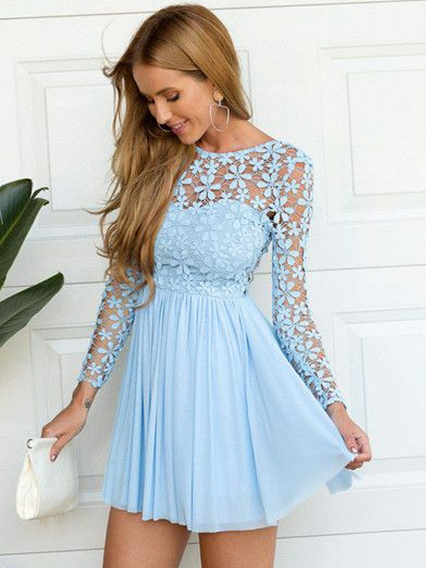 Blue Chiffon Scoop A-line/Princess Short/Mini Dresses