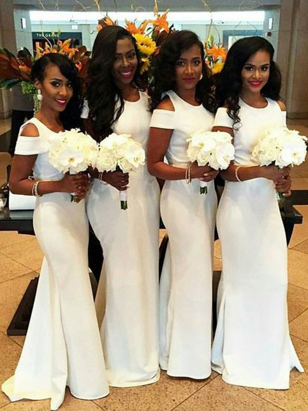 White Satin Scoop Trumpet/Mermaid Sweep/Brush Train Bridesmaid Dresses