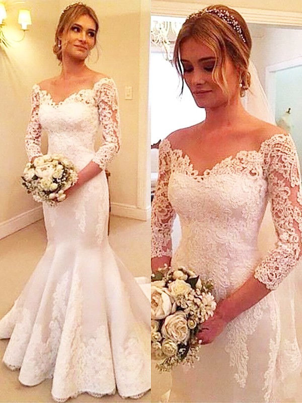 Ivory Satin Off-the-Shoulder Trumpet/Mermaid Court Train Wedding Dresses