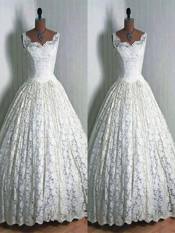 Ivory Lace Sweetheart Ball Gown Floor-Length Wedding Dresses