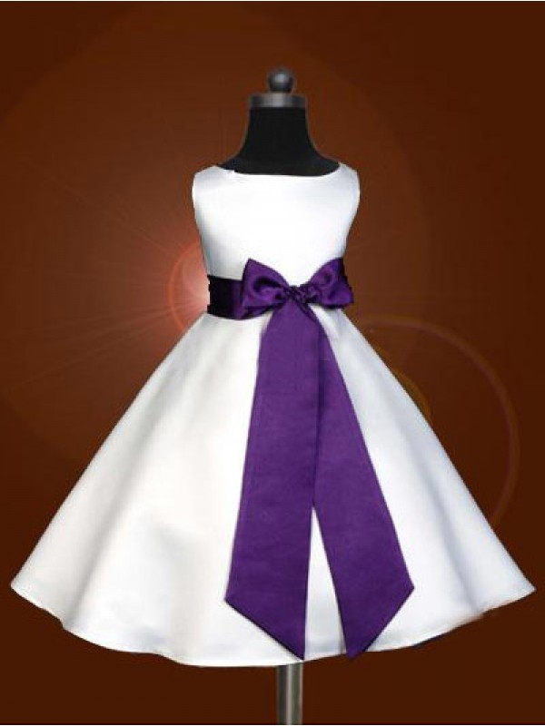 White Satin Scoop A-Line/Princess Floor-Length Flower Girl Dresses