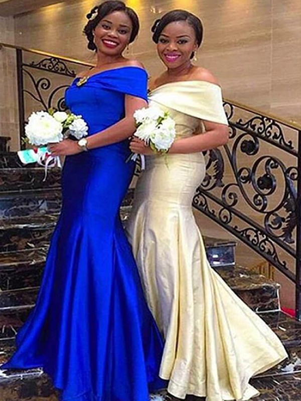 Royal Blue Satin Off-the-Shoulder Trumpet/Mermaid Sweep/Brush Train Bridesmaid Dresses