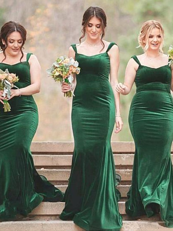 Dark Green Velvet SpaghettiStraps Sheath/Column Sweep/Brush Train Bridesmaid Dresses